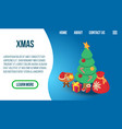 xmas concept banner isometric style vector image