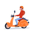 young guy riding electric scooter vintage vector image