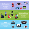 Car Safety Systems Horizontal Banners vector image