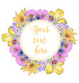 floral greeting card with blooming garden flowers vector image