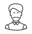 businesman with moustache line icon sign vector image