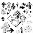 Doodle Sketch Hand Drawn Arrows Set vector image