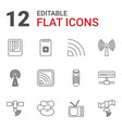 12 signal icons vector image vector image
