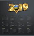 2019 calendar template rwanda country map golden vector image vector image