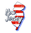 american flag in new jersey state map grunge vector image vector image