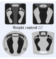 Bathroom scales and footprint vector image vector image