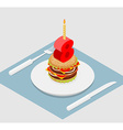 Birthday 8 years old burger Hamburger and candle vector image vector image