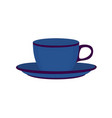 blue ceramic teacup vector image vector image
