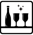 bottle and wine glass silhouette vector image