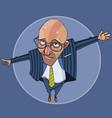 cartoon bald man in a suit blocks the way
