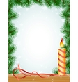 christmas fir branches frame candle ribbon vector image vector image