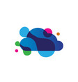 cloud computer digital logo design with bubble vector image vector image