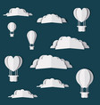 clouds and balloons air hot digital crafts vector image