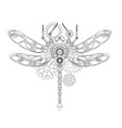 contour mechanical dragonfly vector image vector image