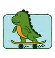 dinosaur riding skateboard cartoon vector image vector image
