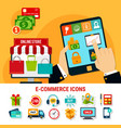e-commerce flat icons set vector image vector image