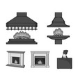 fire warmth and comfortfireplace set collection vector image vector image