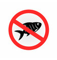fishing is prohibited sign icon vector image vector image