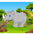 funny rhino cartoon in the jungle vector image