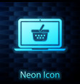 glowing neon shopping basket on screen laptop icon vector image vector image
