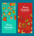 hand drawn colored christmas elements with vector image vector image