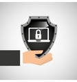 hand holding security shield data laptop vector image vector image