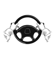 hands on car steering wheel isolated on white vector image vector image