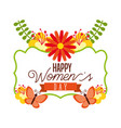 happy women day greeting card postcard on march 8 vector image