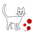 lovely cat play with balls and clew vector image