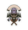 lumberjack bearded skull with two axes vector image vector image