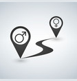 map pointer path icon with male and female symbols vector image vector image