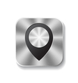 Metal square button with round pointer vector image