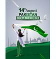 pakistan girl waving flag her hands 14 august