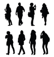 people walking silhouette set one vector image vector image
