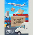 post mail delivery service logistics transport vector image vector image