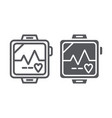pulsometer line and glyph icon heart and cardio vector image vector image