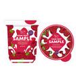 raspberry yogurt packaging design template vector image vector image