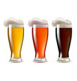 realistic detailed glasses of beer set with foam vector image vector image