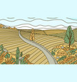 rural mountain landscape farm field and road vector image