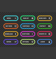 set glow action buttons neon web submit form vector image