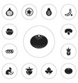 set of 12 editable vegetable icons includes vector image