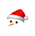 snowman face 3d realistic snowman isolated white vector image