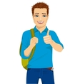 student showing thumbs up hand sign vector image