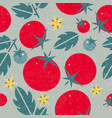 tomato seamless pattern leaves flowers vector image vector image