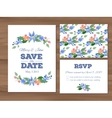Wedding set with watercolor flowers and vector image