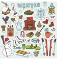 Winteer doodle iconselementsColored set vector image vector image