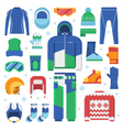 Winter Sports Clothes and Accessories Icons vector image