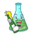 with beer science beaker mascot cartoon vector image