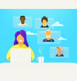 woman makes video webinar online chat concept vector image