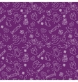 Christmas purple background hand drawn white vector image